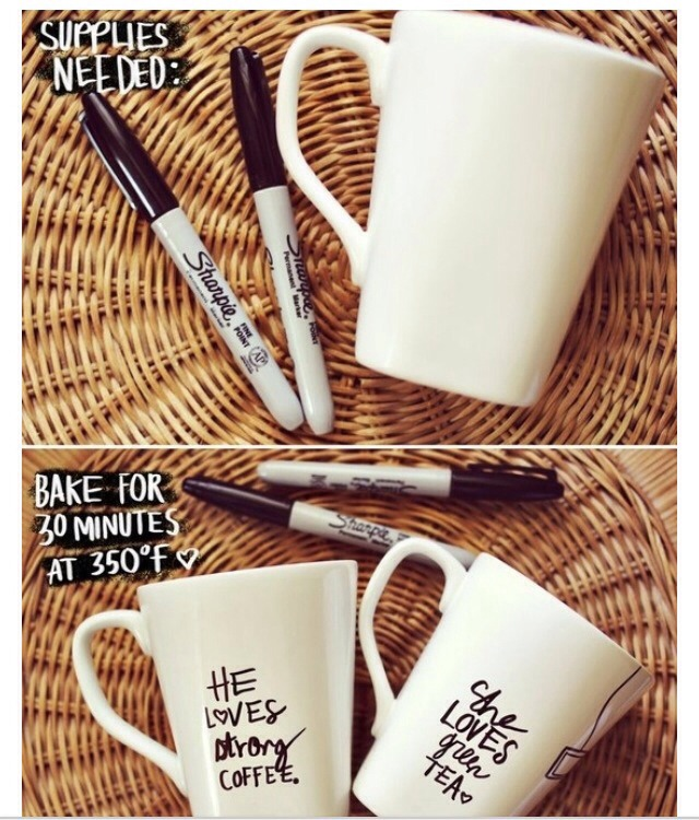 Buy a plain creme (or colored) mug from any craft store (make sure it's the heat proof/ oven safe type) and permanent colored sharpies. Decorate them any way you like and place them in the oven at 350 degrees for 30 minutes. Let cool, and wash out completely before use.