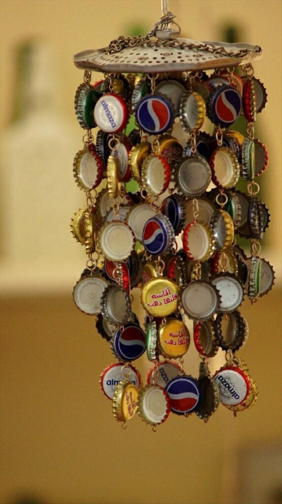 Use the bottle caps as well, an amazing wind chime.