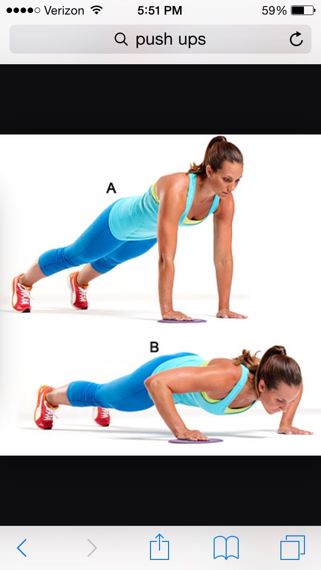 Then do 10 or more push ups to get your arms in shape.