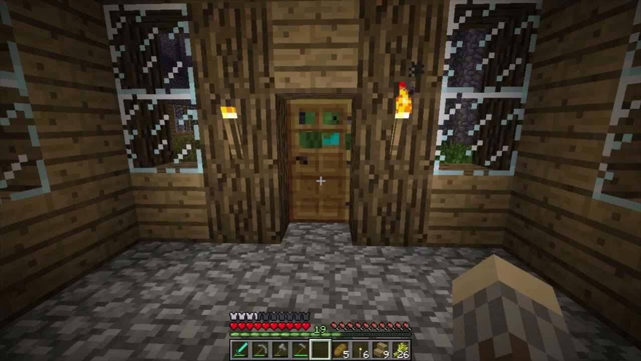 Zombies can break down your door when night falls. Here's a solution that doesn't require you to craft an Iron door or compromise your base's security. Simply break down your door (during the day, of course,) turn so that you are perpendicular to where the door just was, and place your door. PTO...