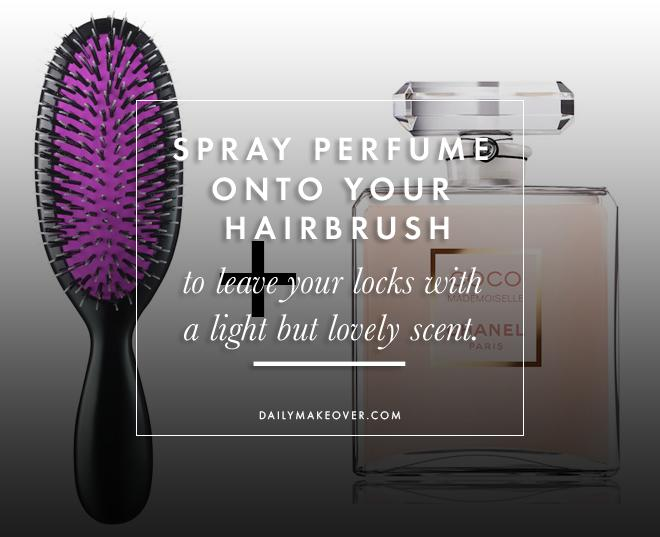 11. Spray perfume onto your hairbrush to leave your locks with a light but lovely scent.