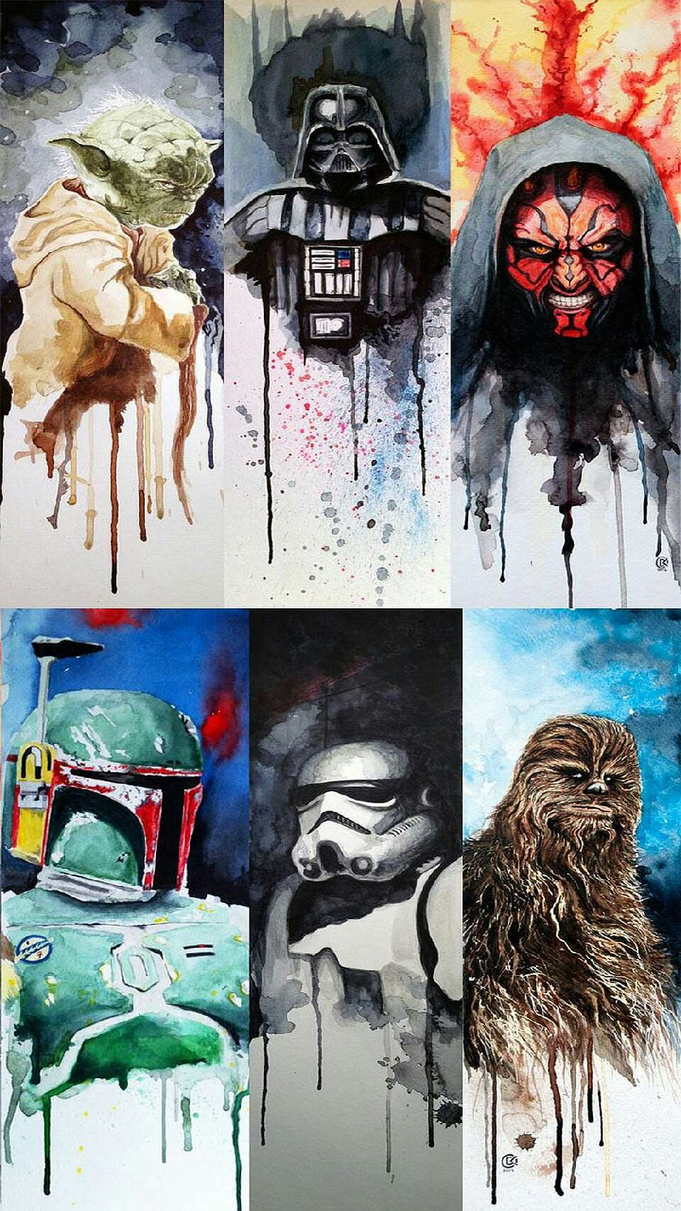 For the (awesome) Star Wars nerds, here's a pretty watercolor that suits your needs
