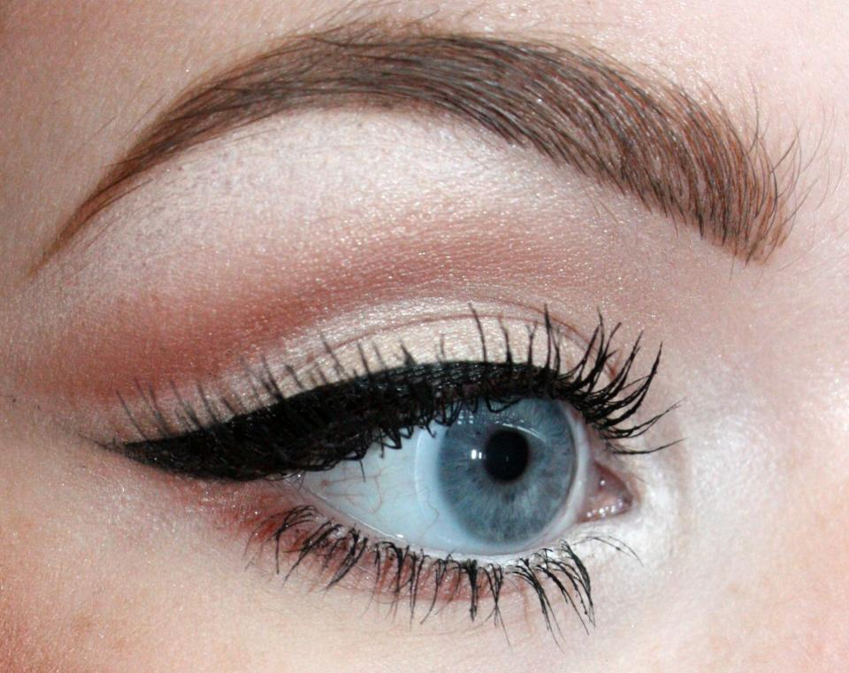 Using the same crease color, darken under the outer half of the lower lashline. Mascara and you're done!