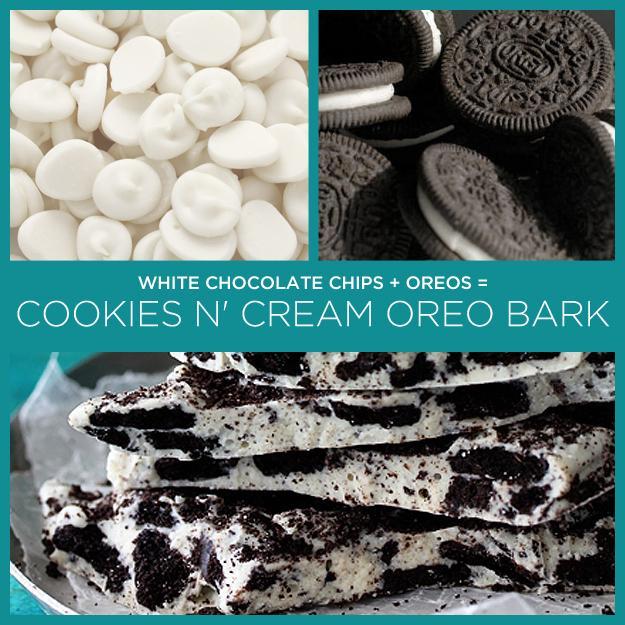 White Chocolate Chips + Oreos = Cookies n' Cream Oreo Bark