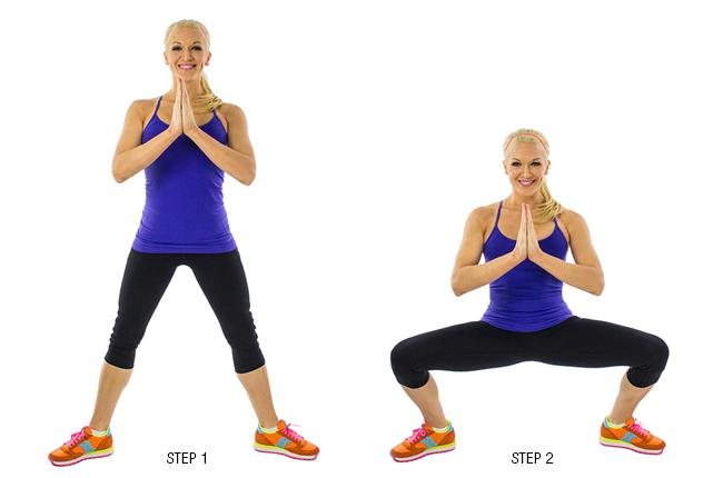 Plie Squat:  Try to tuck your butt inwards and give a little pelvic thrust at the top to make sure you are targeting your inner thighs and outer thighs.
