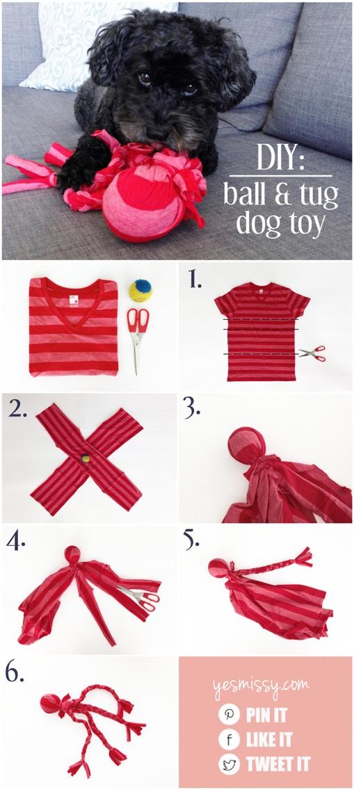 7. Upcycled tshirt DIY dog toy