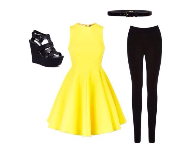 Number 6- flared dress, belt, wedged heels