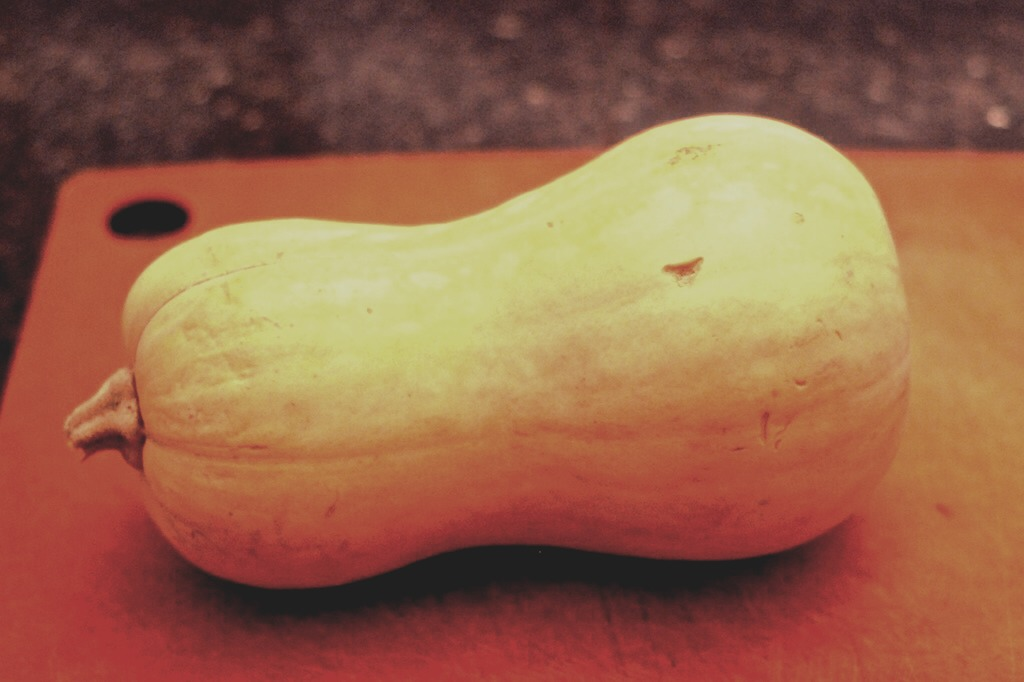When cooking a butternut squash it is MUCH better to leave the outer skin on, it makes the butternut squash have a lot more flavour.