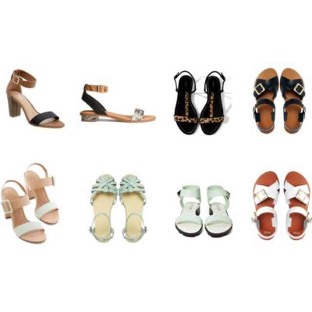 Clockwise from topOld Navy Block Heel Sandals,$28; H&M Snakeskin Sandals,$34; Zara Leather Sandals,$49; Asos Firestorm Leather Sandals in Black,$48; Asos Firestorm Leather Sandals in White,$48; Nasty Gal Fate Sandal,$48; Asos Faithless Leather Sandal,$8; Modcloth Morning Matrimony Heel,$40.