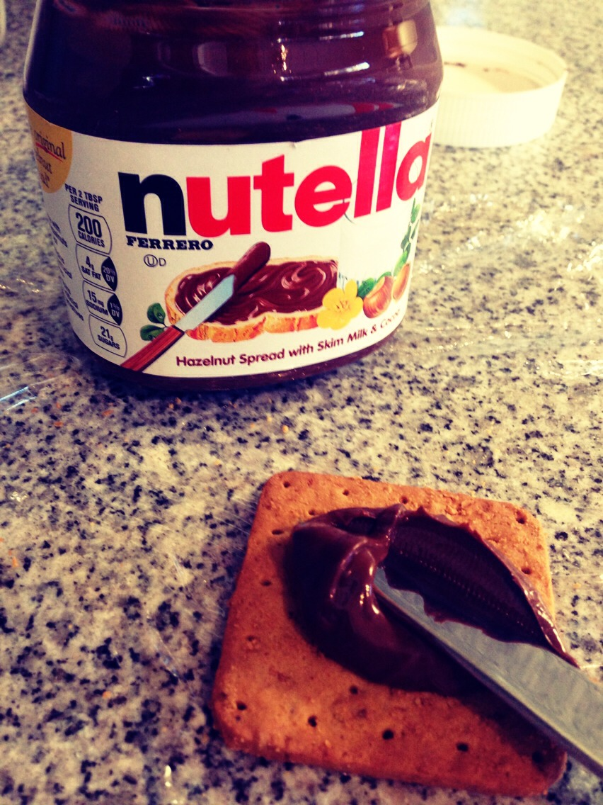 2) Add a layer of a chocolate spread of your choice. I used Nutella!