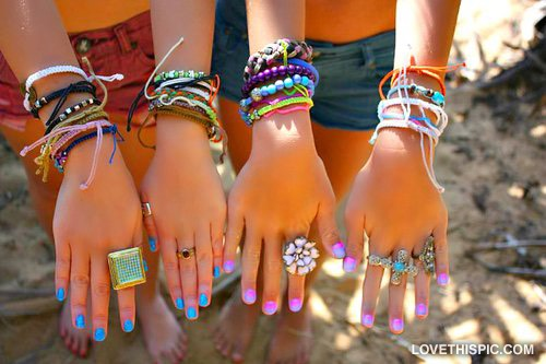 Friendship bracelets are classic and adorable.