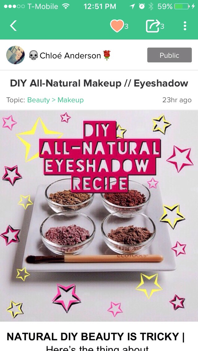 If you're looking for something different as far as eyeshadow goes, I also have another DIY ALL-NATURAL EYE SHADOW TIP THAT I MADE RIGHT BEFORE THIS TIP!   Enjoy, ladies!  There will be waaaaay more DIY beauty/makeup tips to come!