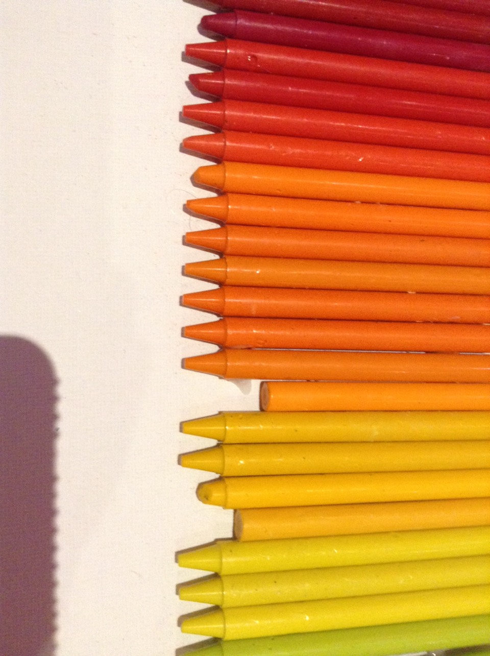 1) organise crayons into the order you want. I did rainbow.