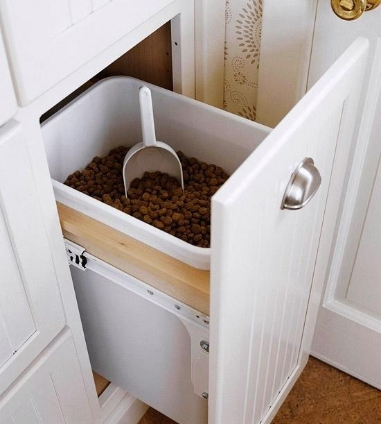 36. Have an extra kitchen drawer? Use it as a dog food holder.