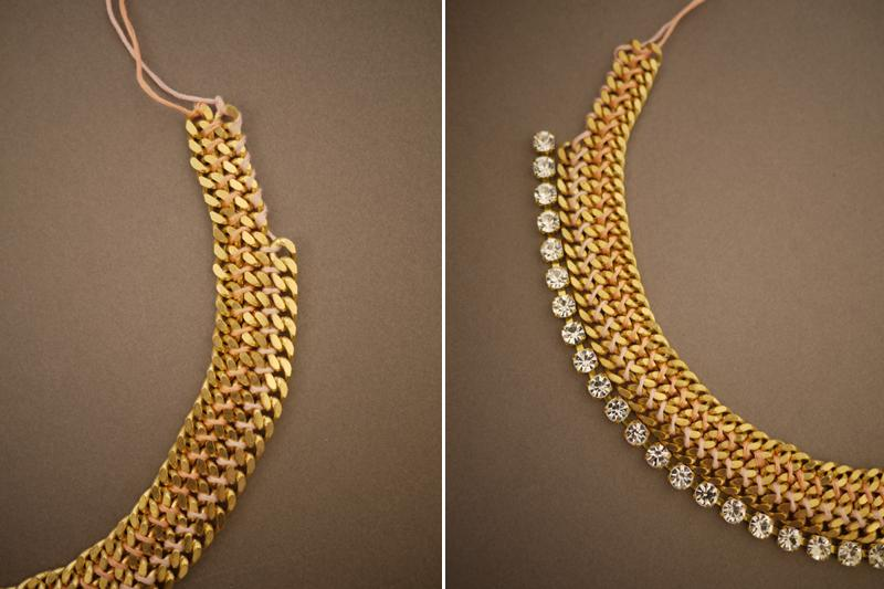 Continue weaving and tie a knot at the end. Now align the rhinestone chain along the necklace.