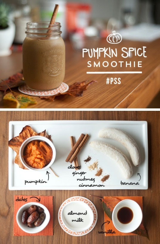 Ingredients: •½ cup canned pumpkin •1 cup almond milk •2 frozen bananas •2 dates •1 scoop of vanilla protein powder (optional) •½ tsp vanilla extract •sprinkle nutmeg, cinnamon, cloves and ginger