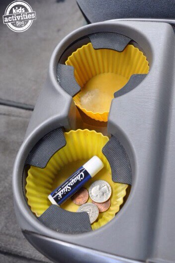 Use reusable cupcake liners to keep from dirty cup holders.