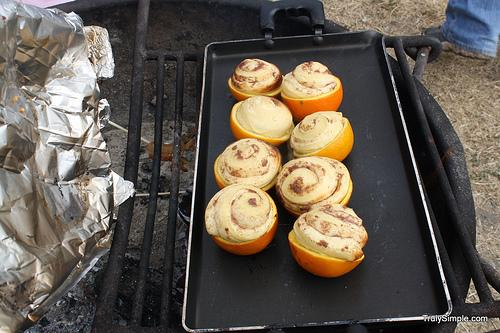 Once the rolls have risen pull them off of the fire.  Watch that they don't burn if you have a hot fire.