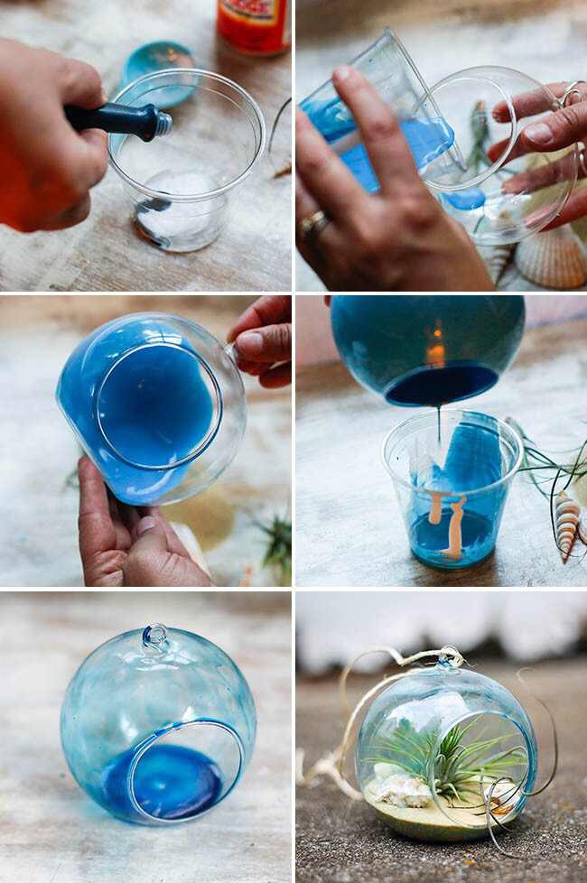 Start by combining the Mod Podge and water in a small bowl or cup. Then add 7-9 drops of blue food coloring and mix well. Note this amount works for a small container – if you have a bigger terrarium with a lot more surface area you might want to double the recipe.