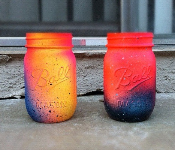 My all time favorite, neon galaxy painted mason jars. I absolutely love these!