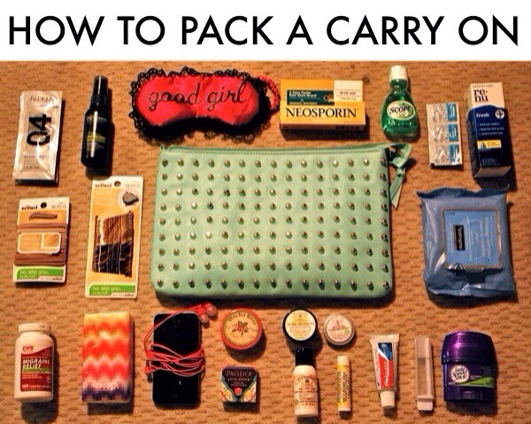 http://www.blonderambitions.com/2013/02/26/how-to-pack-a-carry-on-or-carry-on-necessities-for-the-pampered-traveler/