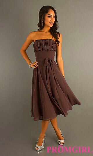 Strapless Brown Dress w/ Ruched Bodice
