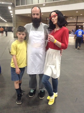 Family photo~missing Tina and Louise Belcher. Bobs Burgers cosplay starring my son, husband and myself as Gene, Bob and Linda!