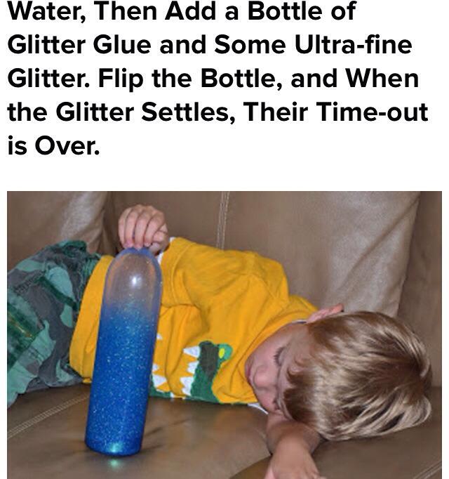 3/4 water a bottle of glitter glue and some super fine glitter.