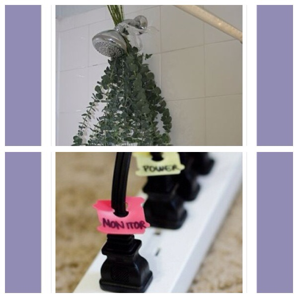 31. Tie a sprig of eucalyptus to your shower head to infuse an amazing smell 32. Use bread tabs to label cords