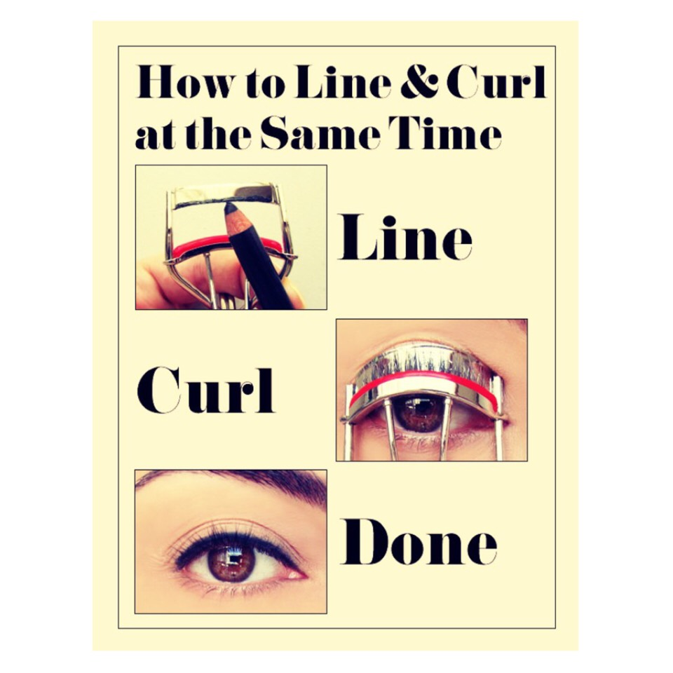 Tip 15: Line&Curl  Apply pencil or gel liner to the top of your eyelash curler to quickly line your eyes
