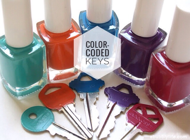 1 | DIY Color-coded Keys!  This simple DIY will help you tell which key opens what. Bonus- you'll have a fun, colorful set of keys!