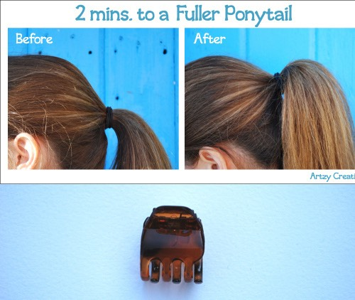 HACK 1  To make a fuller ponytail, use a clip or two bobby pins on the elastic band, make sure the hair covers it, and this will make your ponytail look fuller!   To add even more volume, tease the tops a little and use hairspray to hold it!