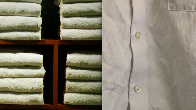 TIP #1  1. Run a thick towel under warm water until soaked.  2. Thoroughly rinse out the towel until it's no longer dripping with water.  3. Place wrinkled clothing flat on one half of the towel so that most of the wrinkles lay flat. 4. Fold the other half of the towel over the shirt so it's covered