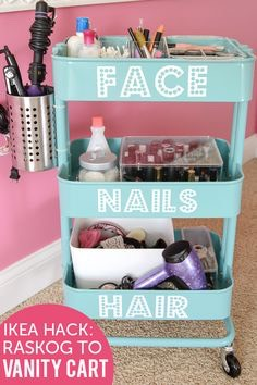 Take a old rack, decorate it and put some labels on it and start putting the stuff that you labeled and it.