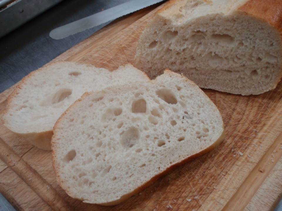 Bake (several) slices of bread at 350 degrees for five minutes or until golden brown.