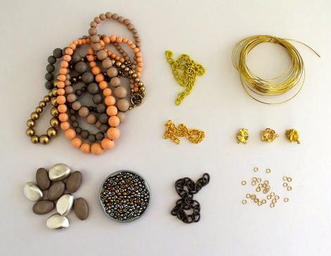 SUPPLIES NEEDED  beads – I used a selection from old necklaces large curb chain 0.8mm wire 5mm jump-rings vintage style jewelry clasps