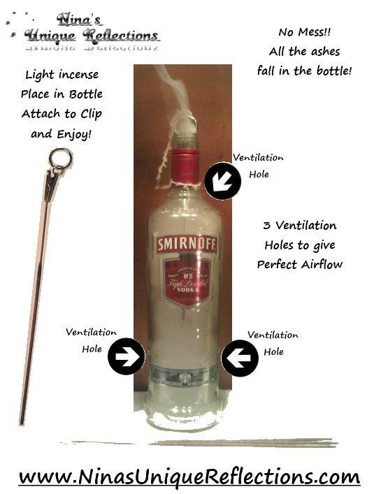 No Mess Liquor Bottle Stick Incense Burners. A great way to burn your incense and the smoking bottle looks cool also :)
