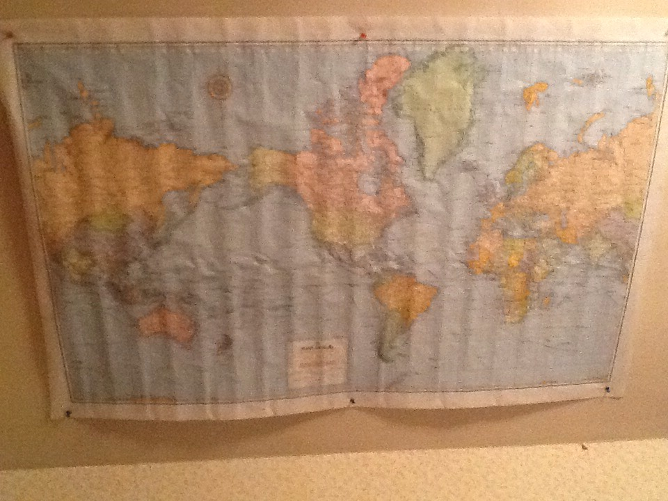 Nail a world map up to your wall