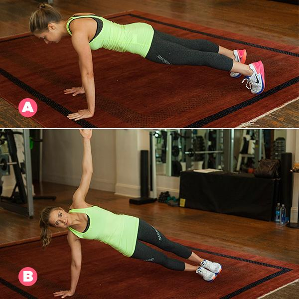 MOVE 3Plank to a T–Stand That's one rep. Do 15 reps, then switch sides.