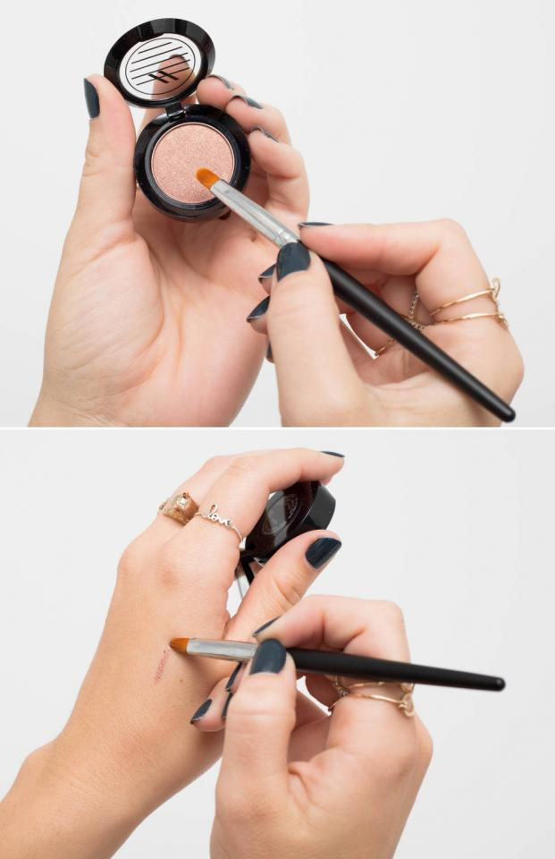 4. Create your own custom eyeliner with a wet liner brush and eyeshadow. The wet brush will darken the pigments a bit and create a sharp look like a liner.