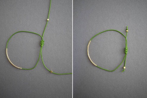 Thread two gold spacer beads onto each cord and tie the tips into a knot. Trim.