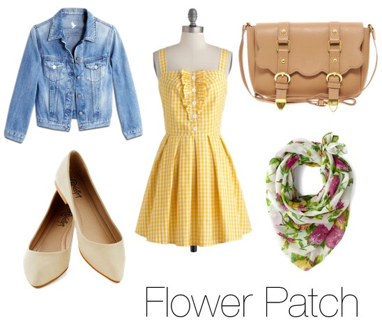 A yellow picnic dress with a jean jacket is so adorable