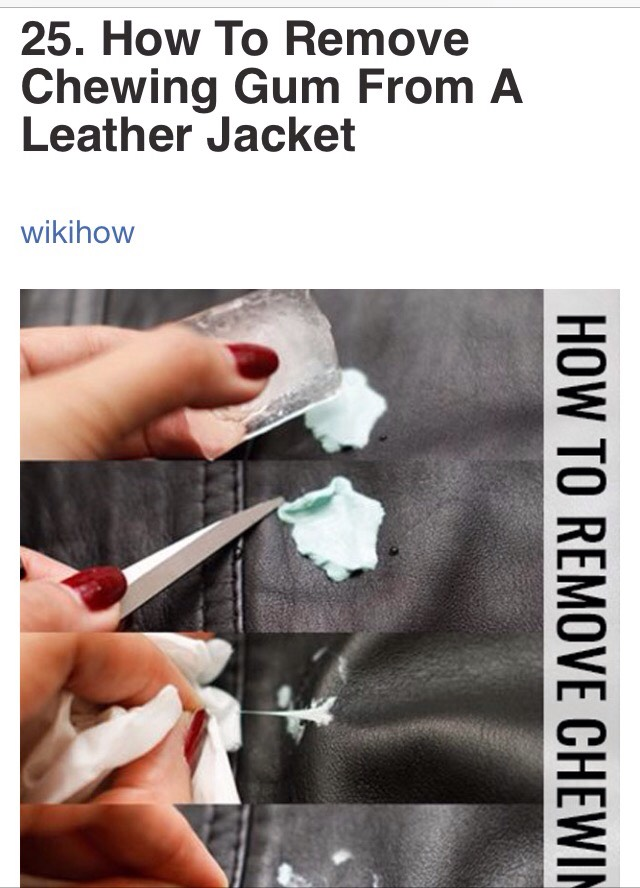 http://www.wikihow.com/Remove-Chewing-Gum-from-a-Leather-Jacket