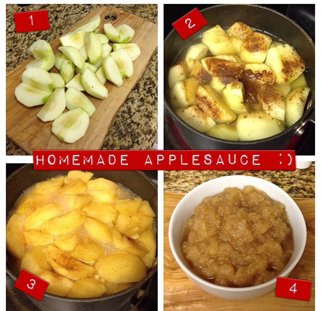 Peel, core, and chop 5 apples. Combine apples with 1/2 tablespoon of cinnamon and 1 cup of water in a sauce pan. Cover and cook over medium heat for 15-20 minutes or until apples are soft.  Allow to cool then mash with a fork.  Enjoy!