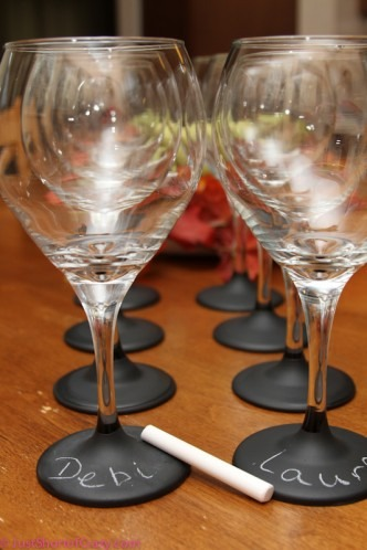 Paint the bases of your wine glasses with chalkboard paint!