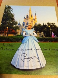 If you write a letter to your favourite Disney character, they send back an autographed photo, or a post card. The address is,  'Walt Disney world communications, p.o. box 10040, Lake Buena Vista, FL 32830-0040.'