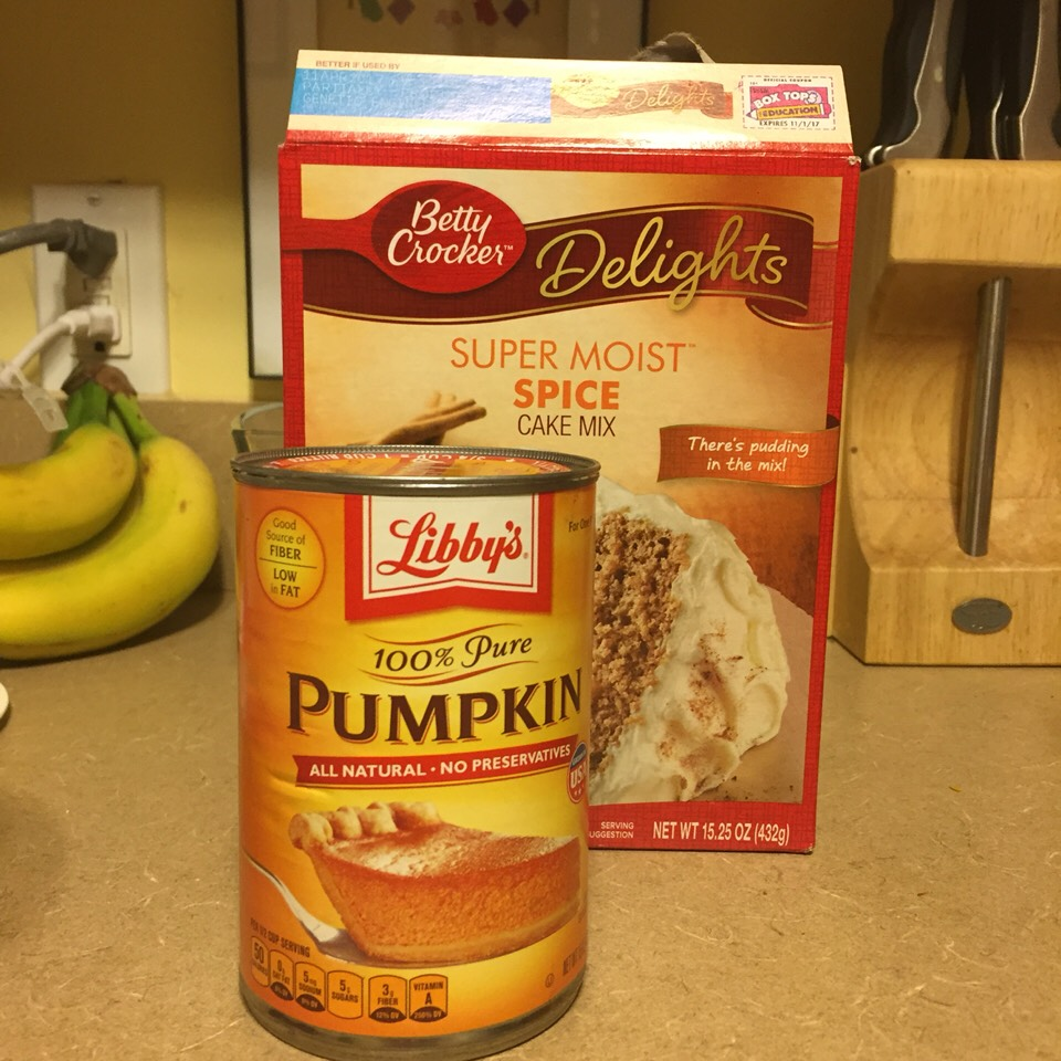 Ingredients: One 15.25oz box Betty Crocker Delights Super Moist Spice Cake Mix One 15oz can Libby's 100% Pure Pumpkin
