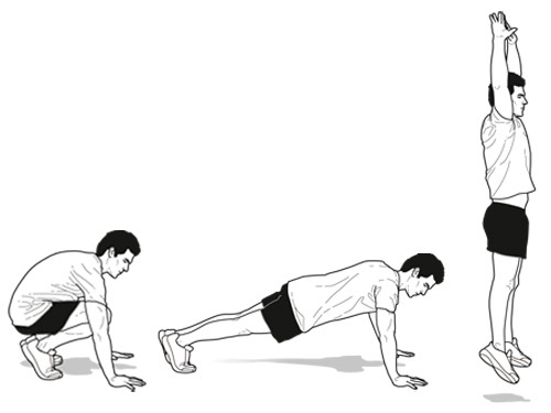 20 Burpees ( substitute for 1 minute and a half mountain climbers if you hate Burpees)