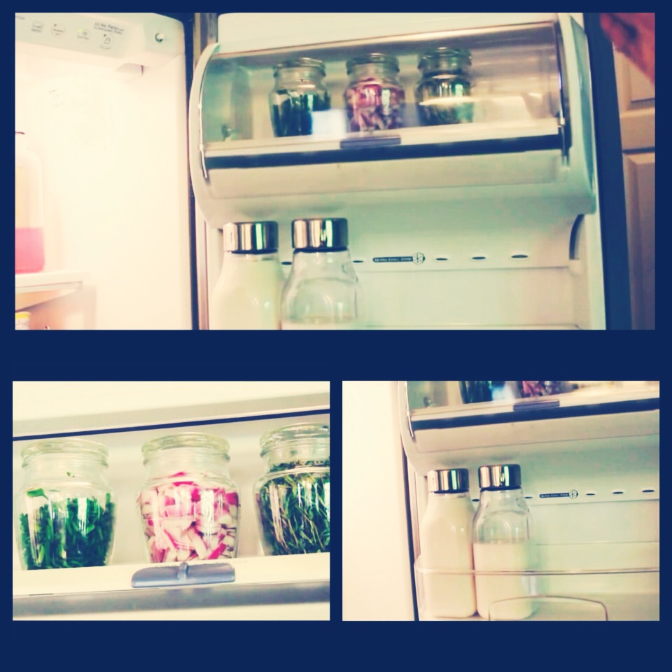 Door Shelf #1 store cut up herbs and onions in glass jars (keeps them fresher  Door Shelf #2 store extra milk and juices