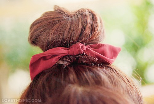 Add a little ribbon/bow to your bun 😊